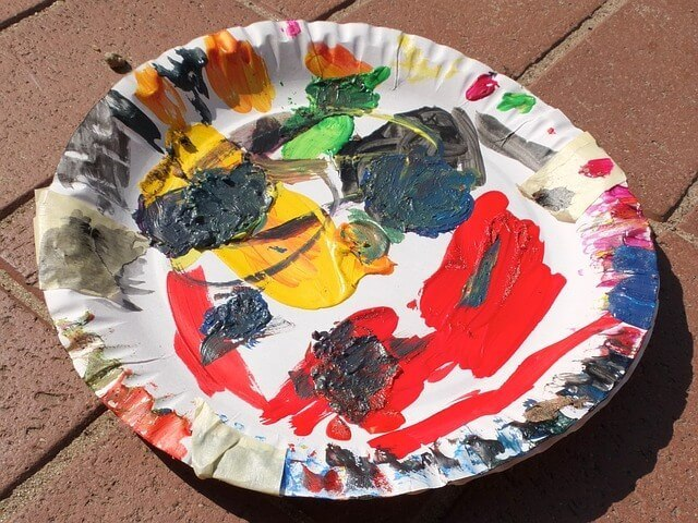 paint mixed in plastic plate