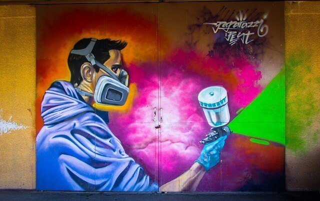 graffiti of a spray painter