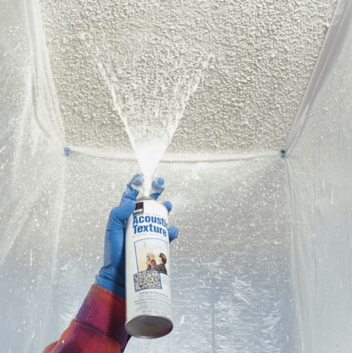 popcorn ceiling getting spray painted