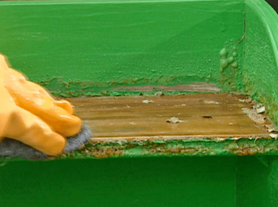 paint being removed from wood